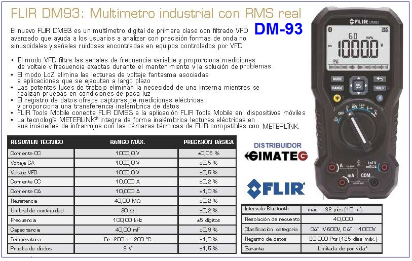 multimetro conexion bluetooth a movil FLIR DM93 gimateg